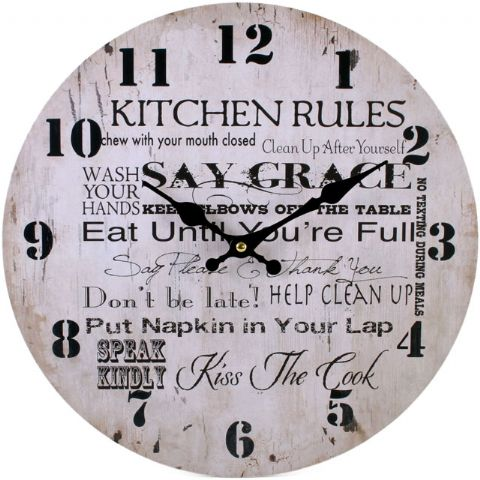 Kitchen Rules 31523 - Large Rustic Retro Kitchen Wall Clock 34cm